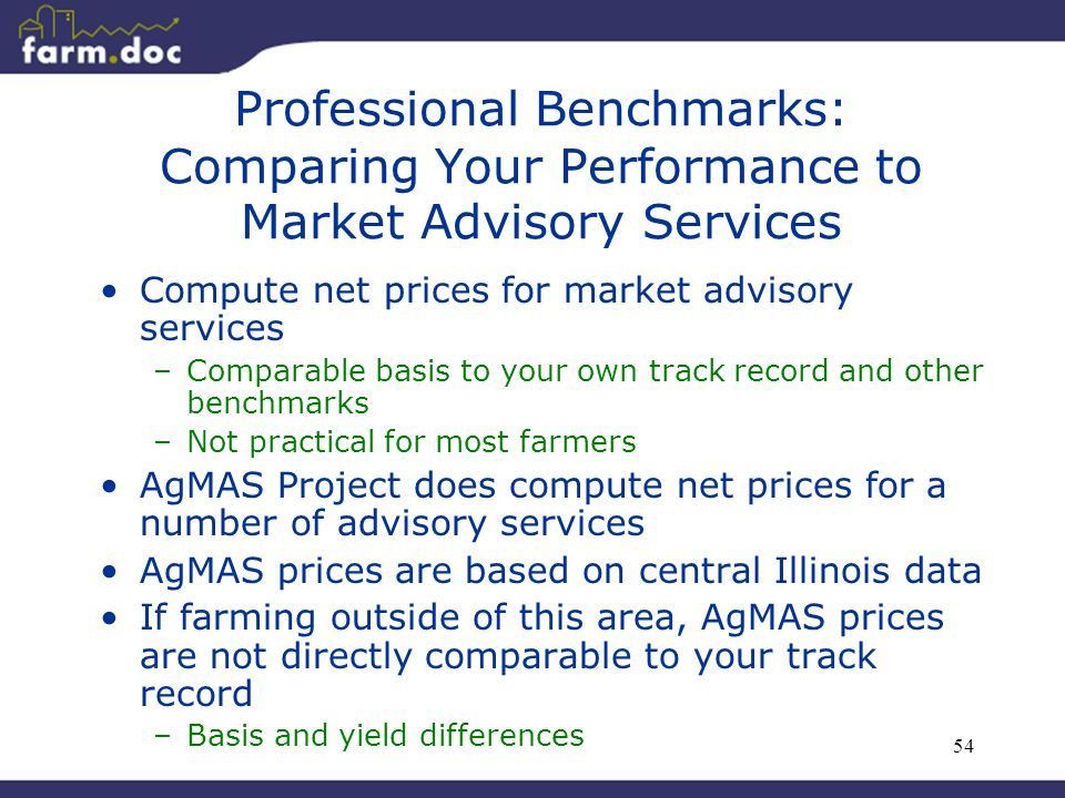 54 Professional Benchmarks: Comparing Your Performance to Market Advisory Services Compute net prices for market advisory services –Comparable basis t