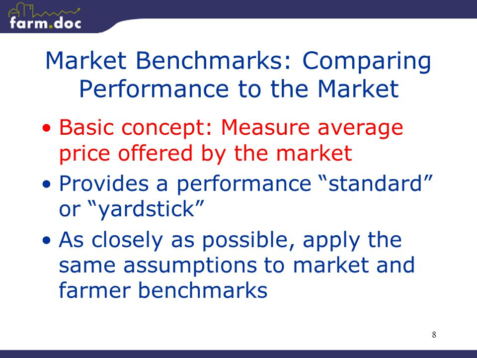 """8 Market Benchmarks: Comparing Performance to the Market Basic concept: Measure average price offered by the market Provides a performance """"standard"""""""