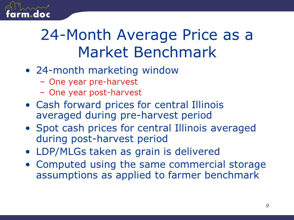 9 24-Month Average Price as a Market Benchmark 24-month marketing window –One year pre-harvest –One year post-harvest Cash forward prices for central Illinois averaged during pre-harvest period Spot cash prices for central Illinois averaged during post-harvest period LDP/MLGs taken as grain is delivered Computed using the same commercial storage assumptions as applied to farmer benchmark