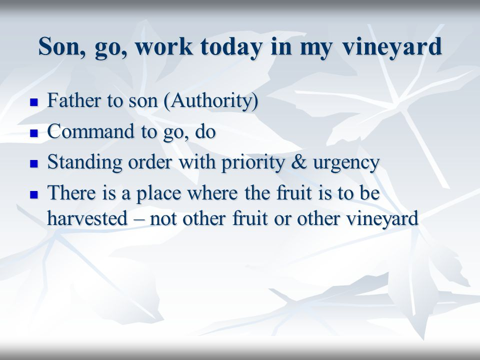Son, go, work today in my vineyard Father to son (Authority) Father to son (Authority) Command to go, do Command to go, do Standing order with priorit