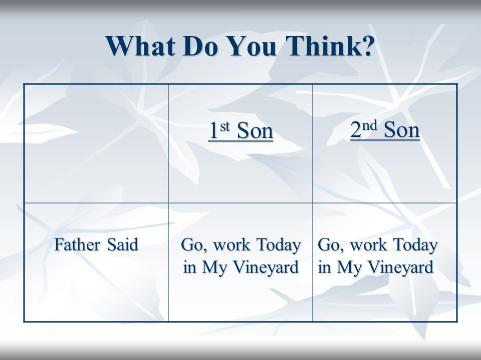 What Do You Think 1 st Son 2 nd Son Father Said Go, work Today in My Vineyard