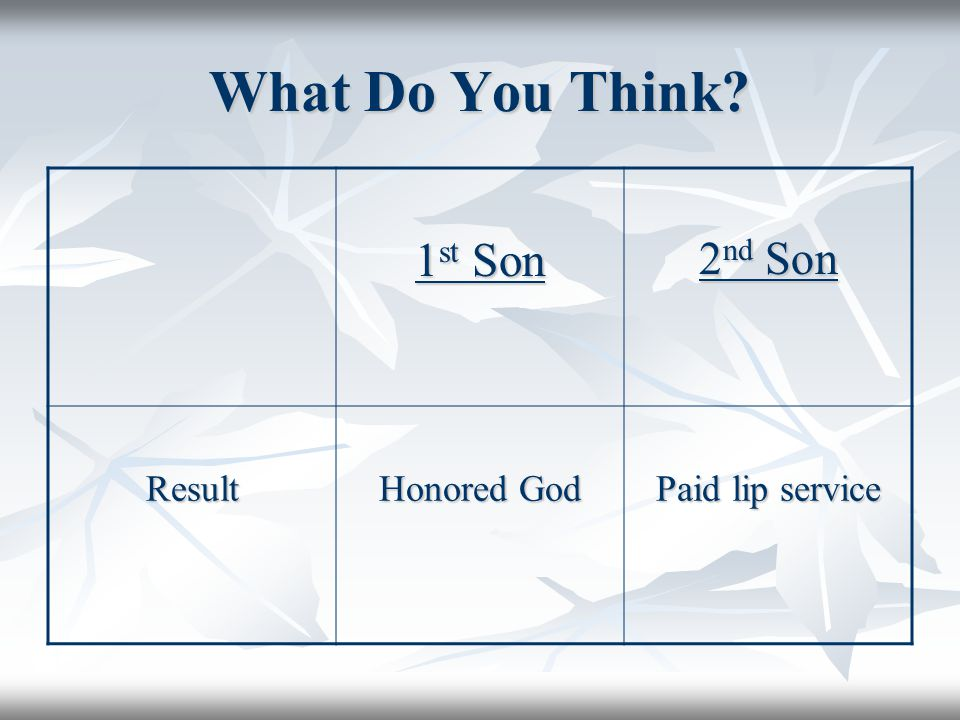 What Do You Think 1 st Son 2 nd Son Result Honored God Paid lip service