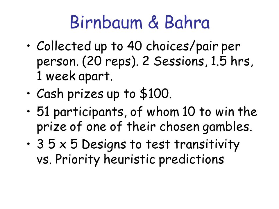Birnbaum & Bahra Collected up to 40 choices/pair per person.