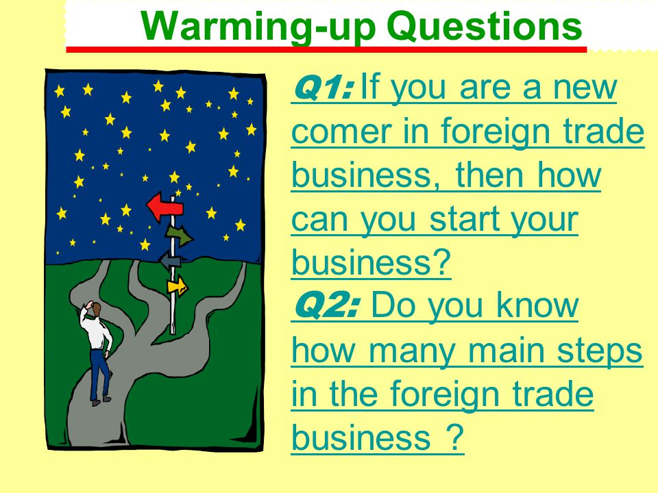 Warming-up Questions Q1: If you are a new comer in foreign trade business, then how can you start your business? Q2: Do you know how many main steps i