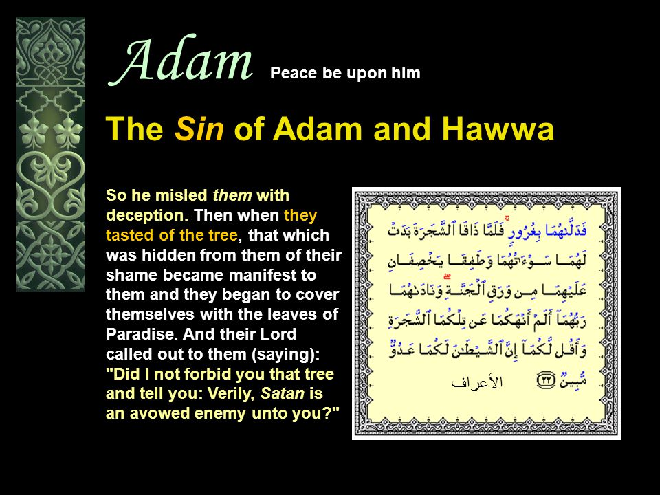 Adam Peace be upon him The Sin of Adam and Hawwa So he misled them with deception. Then when they tasted of the tree, that which was hidden from them