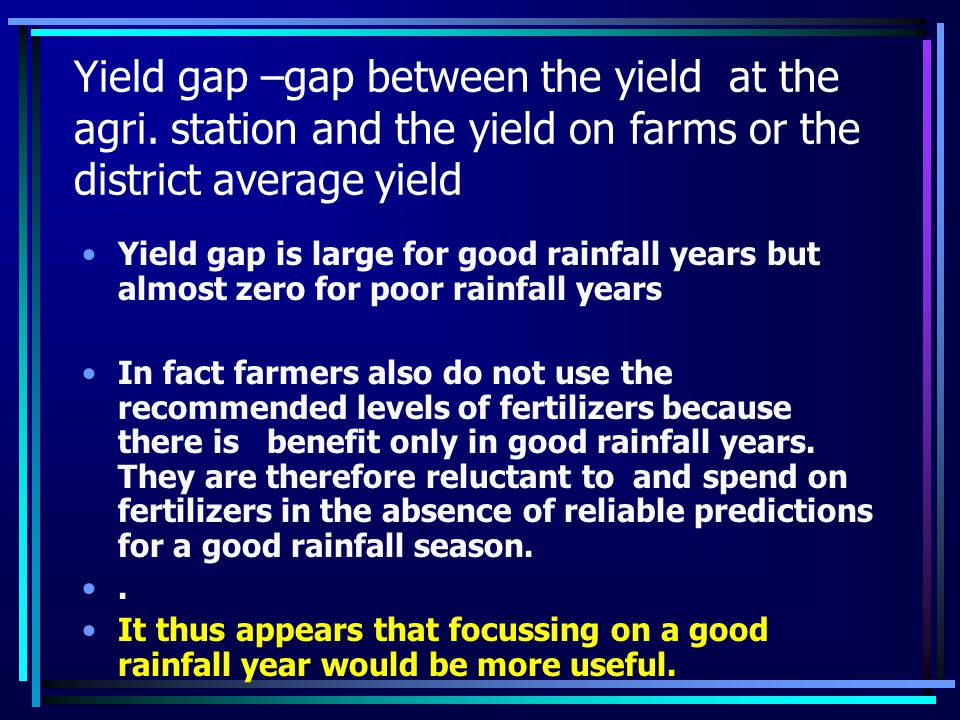 Yield gap –gap between the yield at the agri.