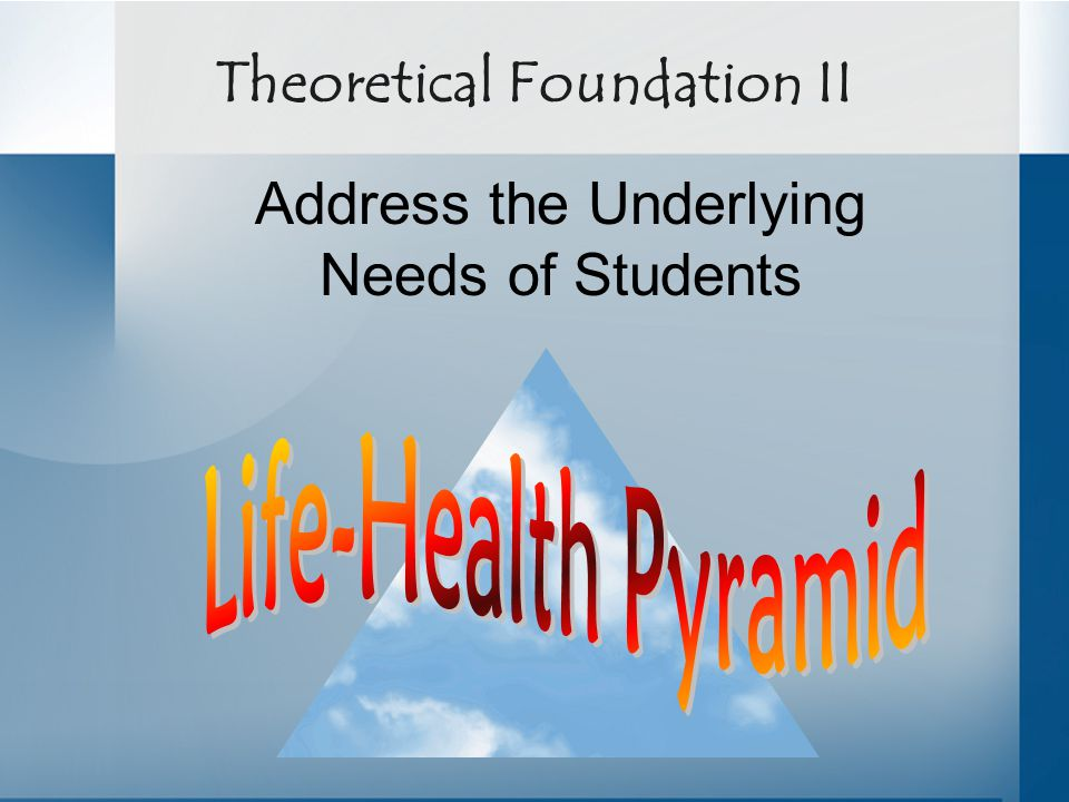Theoretical Foundation II Address the Underlying Needs of Students