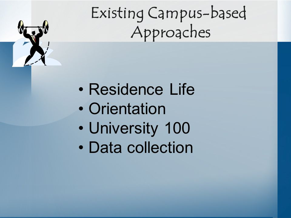 Existing Campus-based Approaches Residence Life Orientation University 100 Data collection