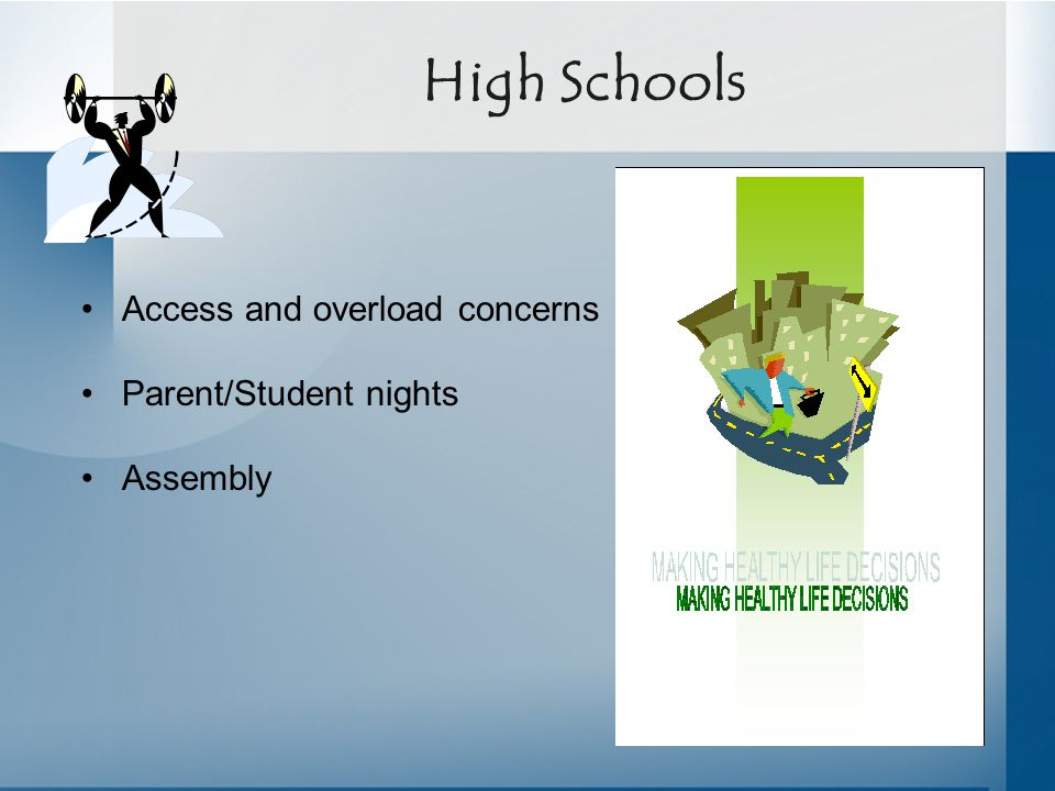 High Schools Access and overload concerns Parent/Student nights Assembly