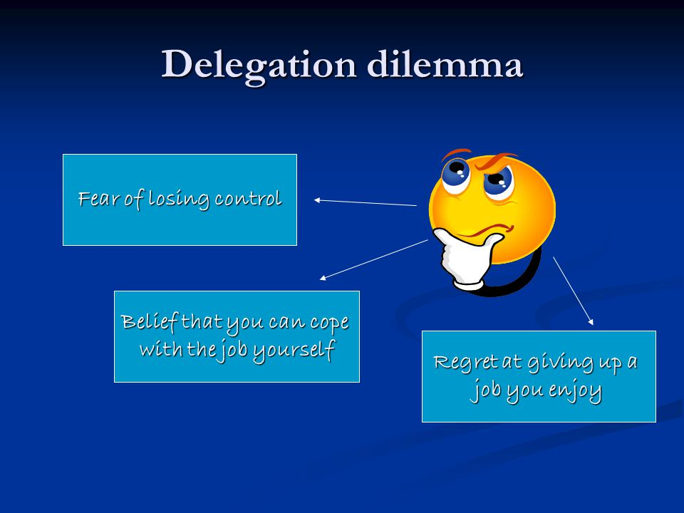 Delegation dilemma Fear of losing control Regret at giving up a job you enjoy Belief that you can cope with the job yourself