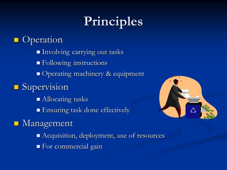Principles Operation Operation Involving carrying out tasks Involving carrying out tasks Following instructions Following instructions Operating machinery & equipment Operating machinery & equipment Supervision Supervision Allocating tasks Allocating tasks Ensuring task done effectively Ensuring task done effectively Management Management Acquisition, deployment, use of resources Acquisition, deployment, use of resources For commercial gain For commercial gain