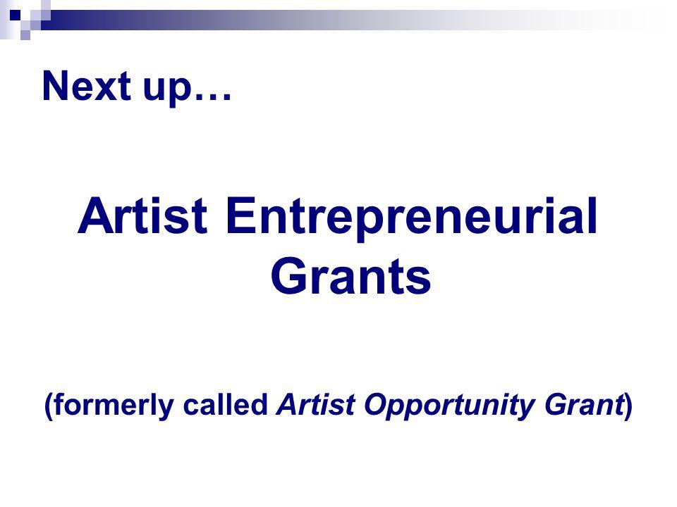 Next up… Artist Entrepreneurial Grants (formerly called Artist Opportunity Grant)