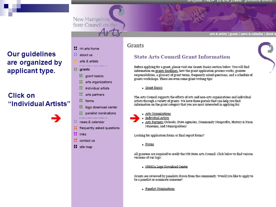 """Our guidelines are organized by applicant type. Click on """"Individual Artists"""" """