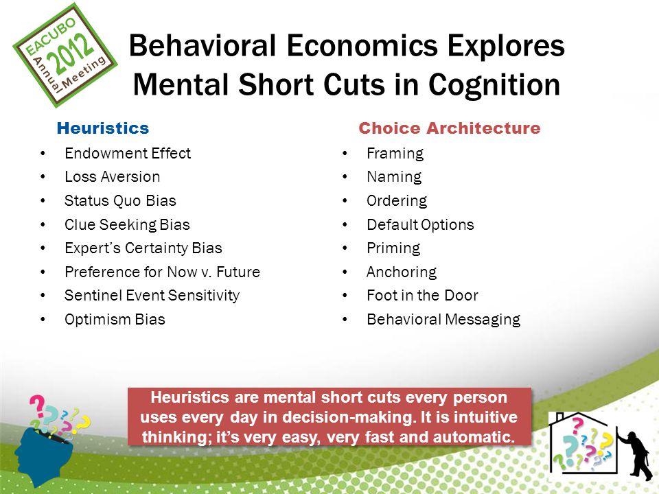 Behavioral Economics Explores Mental Short Cuts in Cognition Heuristics Endowment Effect Loss Aversion Status Quo Bias Clue Seeking Bias Expert's Certainty Bias Preference for Now v.