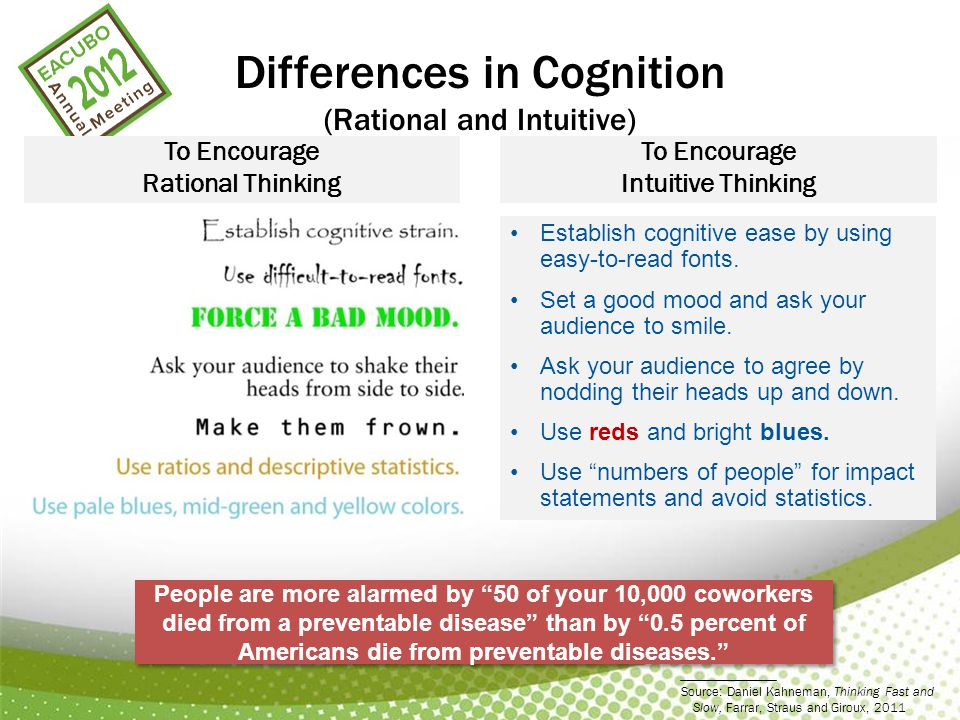 Differences in Cognition (Rational and Intuitive) To Encourage Rational Thinking To Encourage Intuitive Thinking Establish cognitive ease by using easy-to-read fonts.
