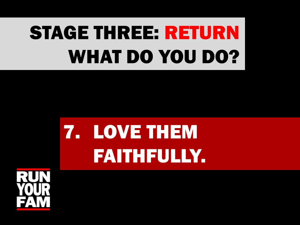 7.LOVE THEM FAITHFULLY. STAGE THREE: RETURN WHAT DO YOU DO?