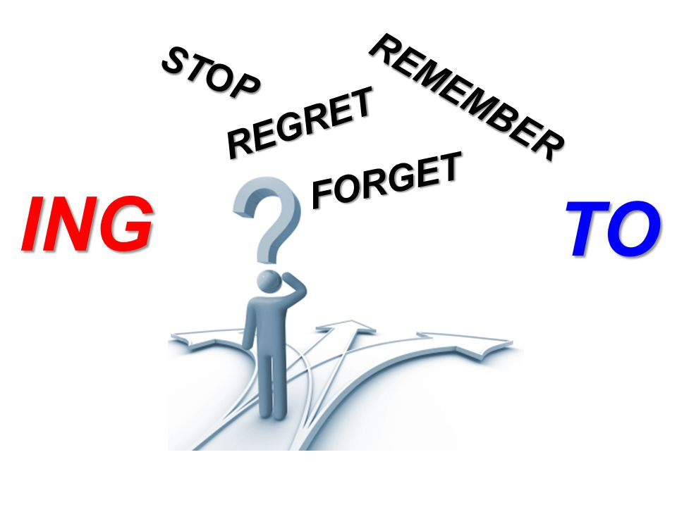 FORGET STOP REGRET REMEMBER ING TO