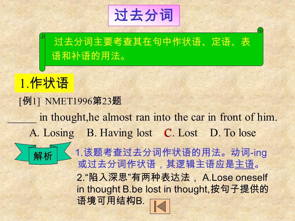 不定式 不定式的否定形式 3 [ 例 5] NMET 1996 年 The patient was warned ____ oily food after the operation.