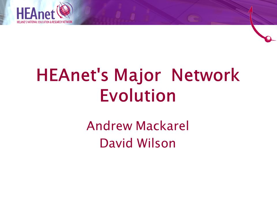National Networking Projects HEAnet's IP network New ROADM Network European Networking Research Projects AutoBAHN Manticore & Federica Questions & Answers Agenda