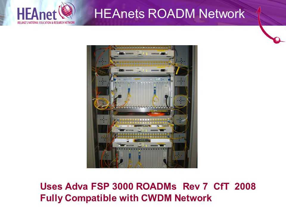 HEAnets ROADM Network Uses Adva FSP 3000 ROADMs Rev 7 CfT 2008 Fully Compatible with CWDM Network