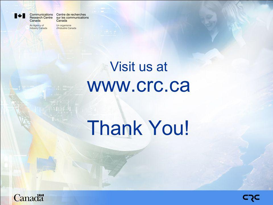 Visit us at www.crc.ca Thank You!