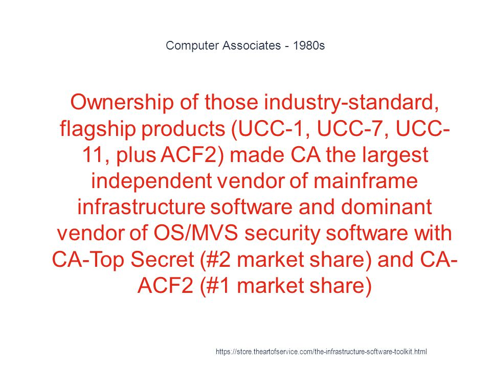 Computer Associates - 1980s 1 Ownership of those industry-standard, flagship products (UCC-1, UCC-7, UCC- 11, plus ACF2) made CA the largest independent vendor of mainframe infrastructure software and dominant vendor of OS/MVS security software with CA-Top Secret (#2 market share) and CA- ACF2 (#1 market share) https://store.theartofservice.com/the-infrastructure-software-toolkit.html