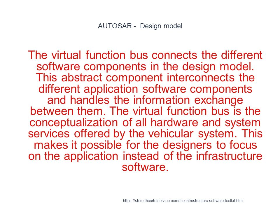 AUTOSAR - Design model 1 The virtual function bus connects the different software components in the design model.