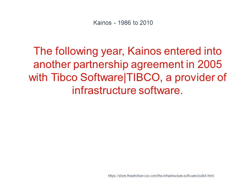 Kainos - 1986 to 2010 1 The following year, Kainos entered into another partnership agreement in 2005 with Tibco Software|TIBCO, a provider of infrastructure software.