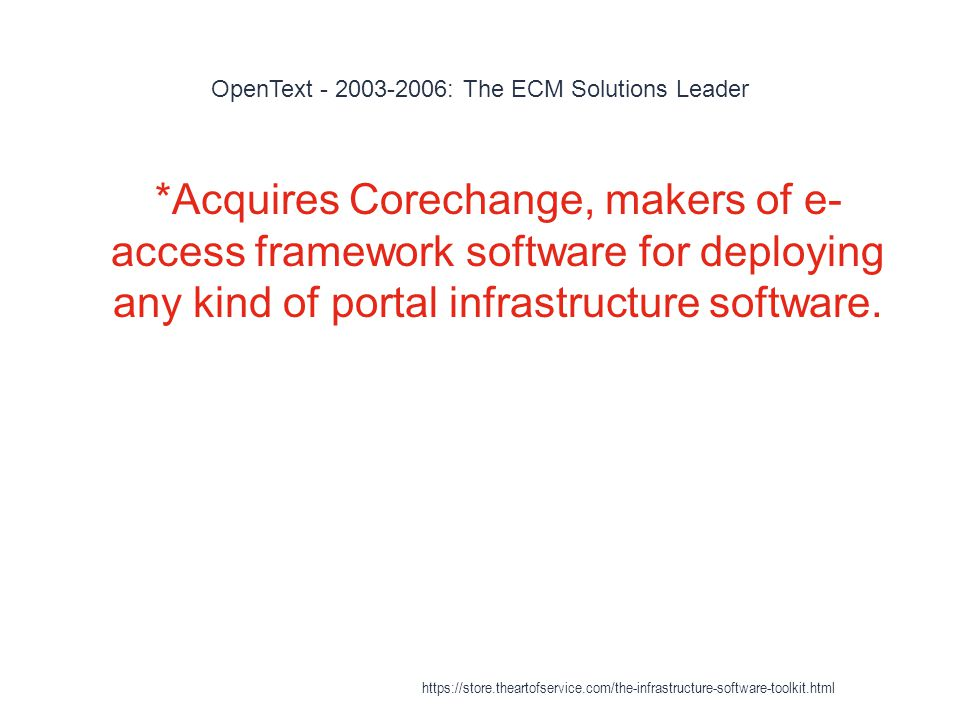 OpenText - 2003-2006: The ECM Solutions Leader 1 *Acquires Corechange, makers of e- access framework software for deploying any kind of portal infrastructure software.