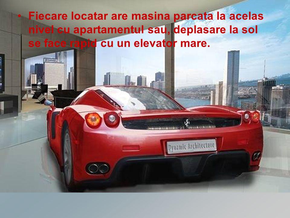 Fiecare locatar are masina parcata la acelas nivel cu apartamentul sau, deplasare la sol se face rapid cu un elevator mare.