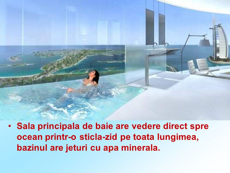 Sala principala de baie are vedere direct spre ocean printr-o sticla-zid pe toata lungimea, bazinul are jeturi cu apa minerala.