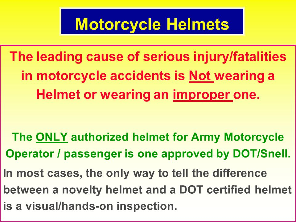"The chopper-style ""Novelty"" helmet provide little to no protection to the skull and face. If you are not wearing a DOT or Snell approved helmet! Crash"
