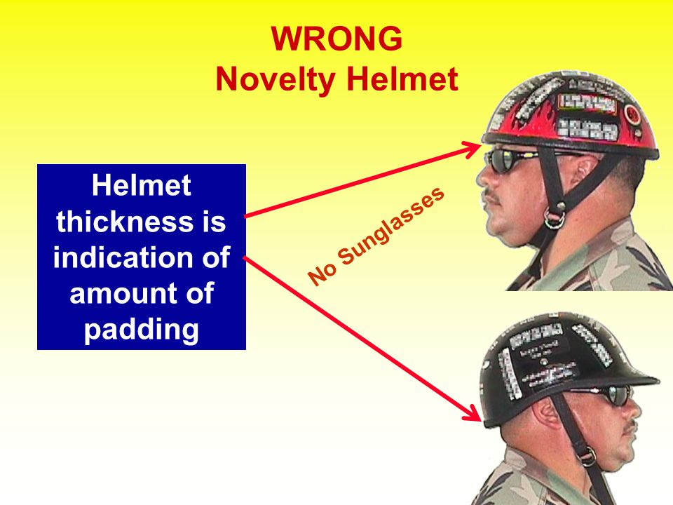 RIGHT Approved Helmet Helmet thickness is indication of amount of padding