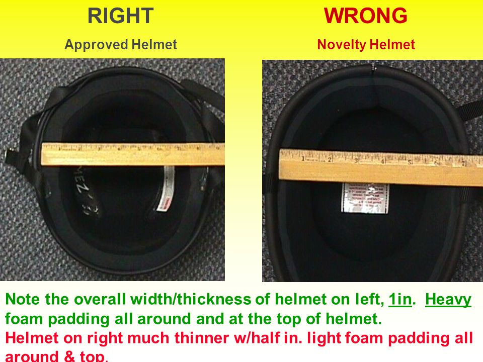 WRONG Novelty Helmet Helmet thickness is indication of amount of padding No Sunglasses