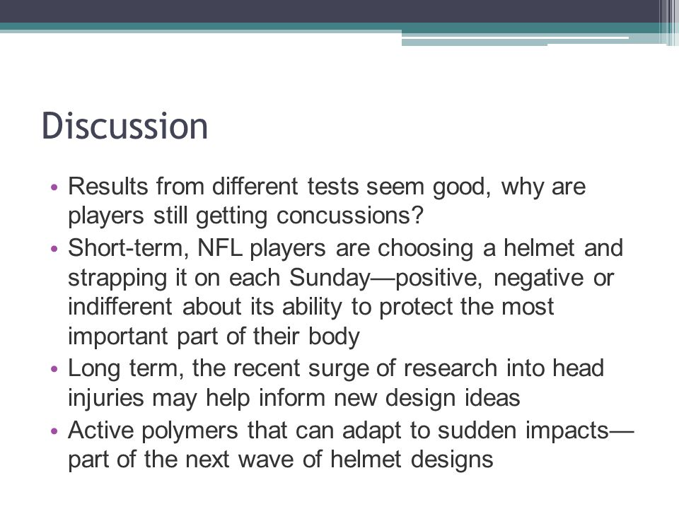 Discussion Results from different tests seem good, why are players still getting concussions.