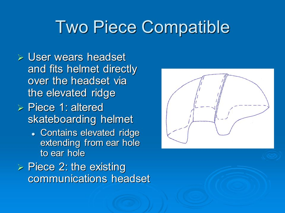 Two Piece Compatible  User wears headset and fits helmet directly over the headset via the elevated ridge  Piece 1: altered skateboarding helmet Contains elevated ridge extending from ear hole to ear hole Contains elevated ridge extending from ear hole to ear hole  Piece 2: the existing communications headset