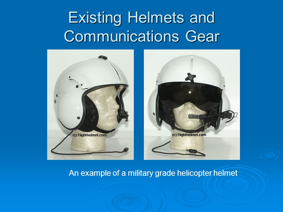 Existing Helmets and Communications Gear An example of a military grade helicopter helmet