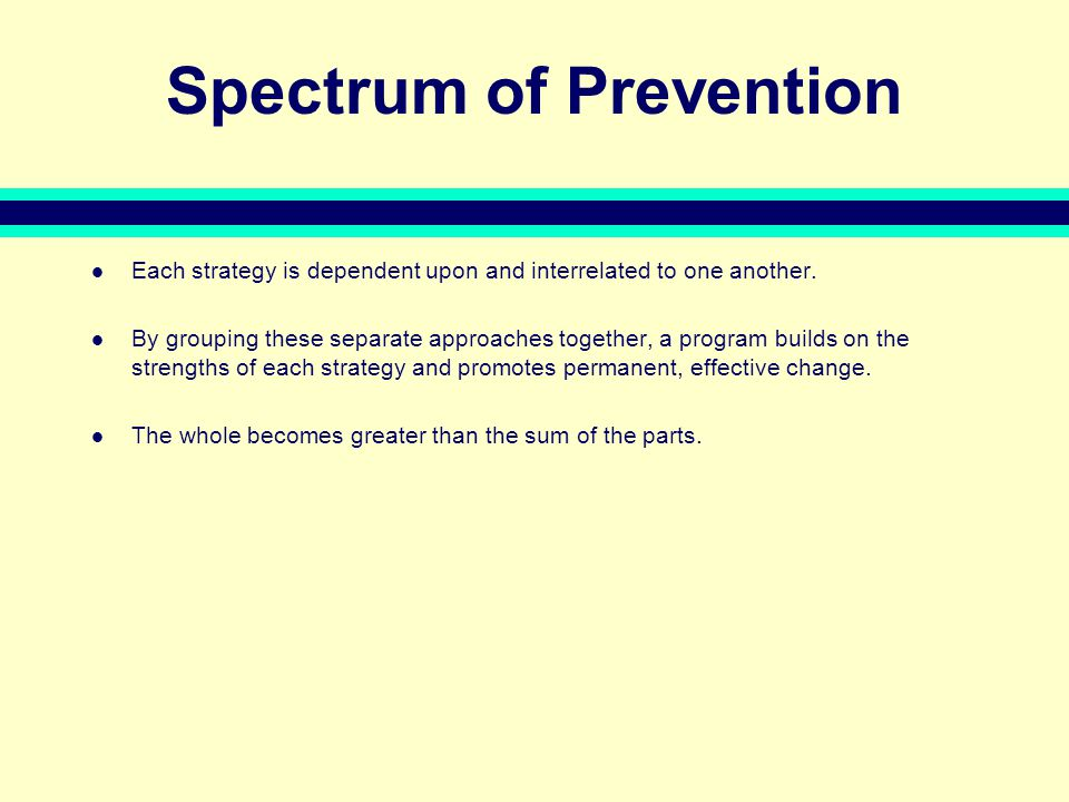 Spectrum of Prevention Each strategy is dependent upon and interrelated to one another.