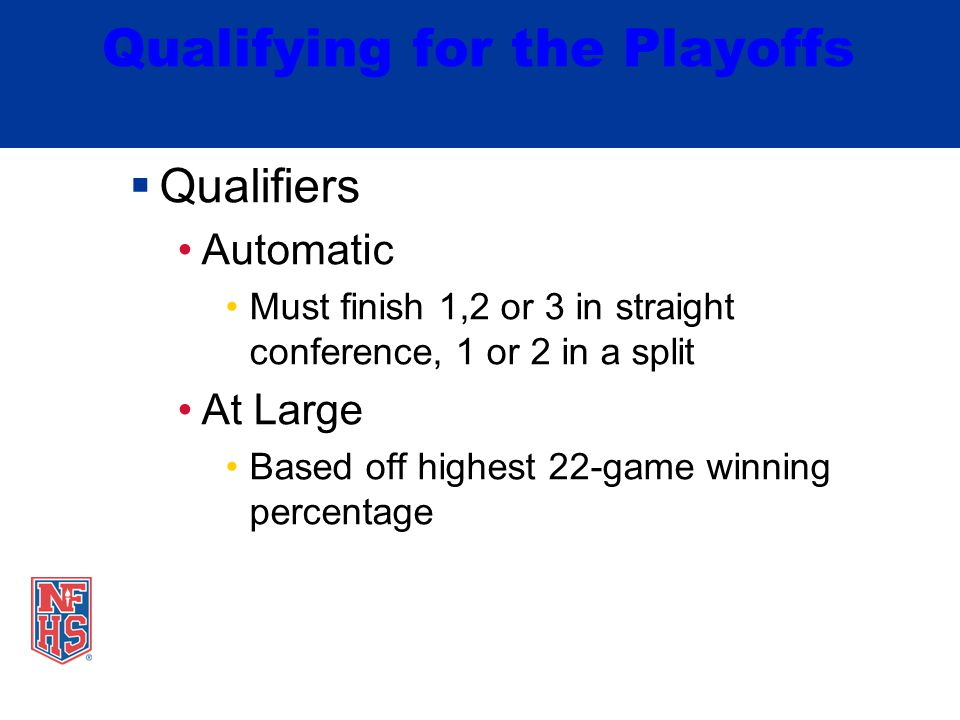 Qualifying for the Playoffs  Qualifiers Automatic Must finish 1,2 or 3 in straight conference, 1 or 2 in a split At Large Based off highest 22-game winning percentage
