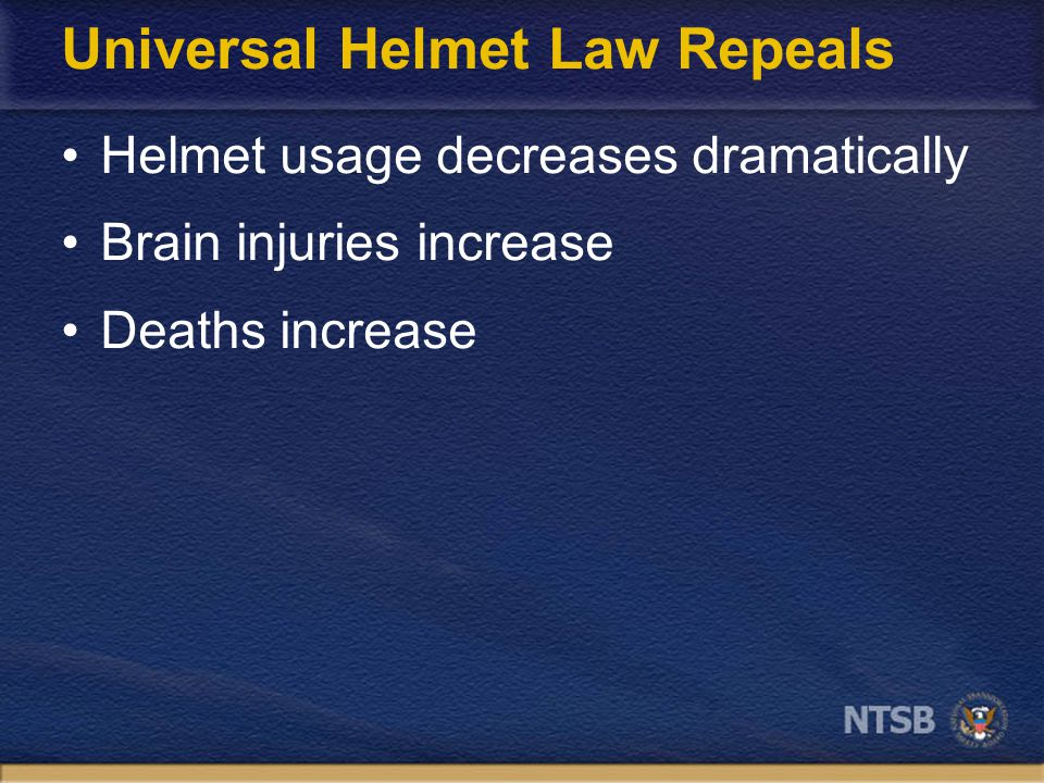 Lives Saved by Helmets 1997-2005 Source: NHTSA, Traffic Safety Facts. DOT HS 810 631, 2005.