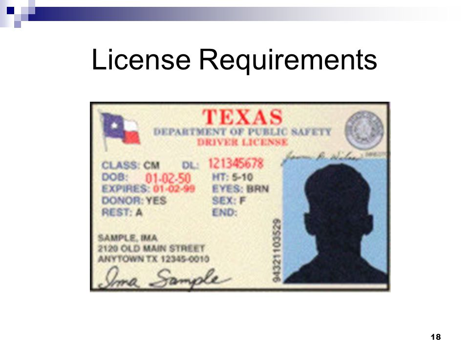 18 License Requirements