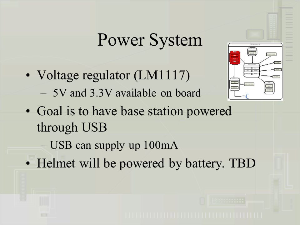 Power System Voltage regulator (LM1117) – 5V and 3.3V available on board Goal is to have base station powered through USB –USB can supply up 100mA Hel