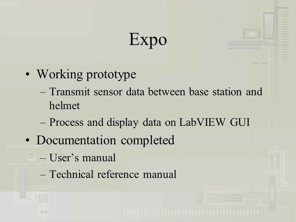 Expo Working prototype –Transmit sensor data between base station and helmet –Process and display data on LabVIEW GUI Documentation completed –User's