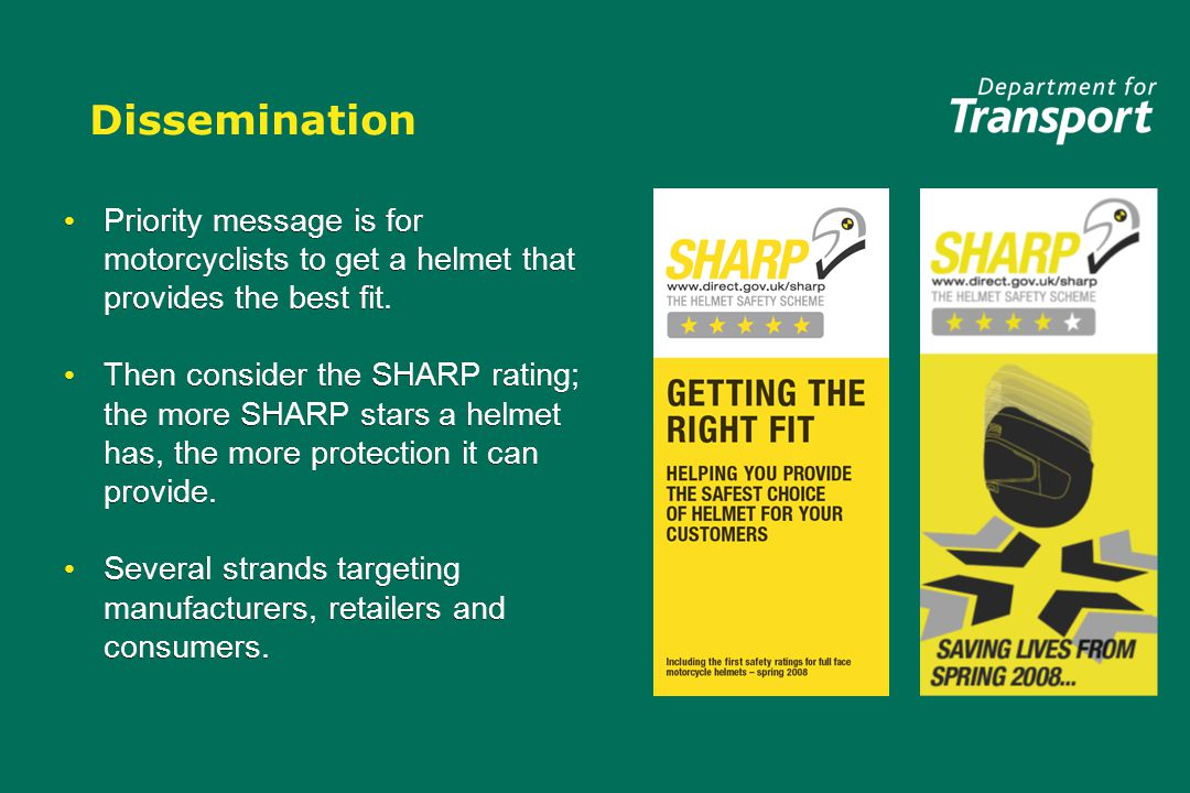 Dissemination Priority message is for motorcyclists to get a helmet that provides the best fit.