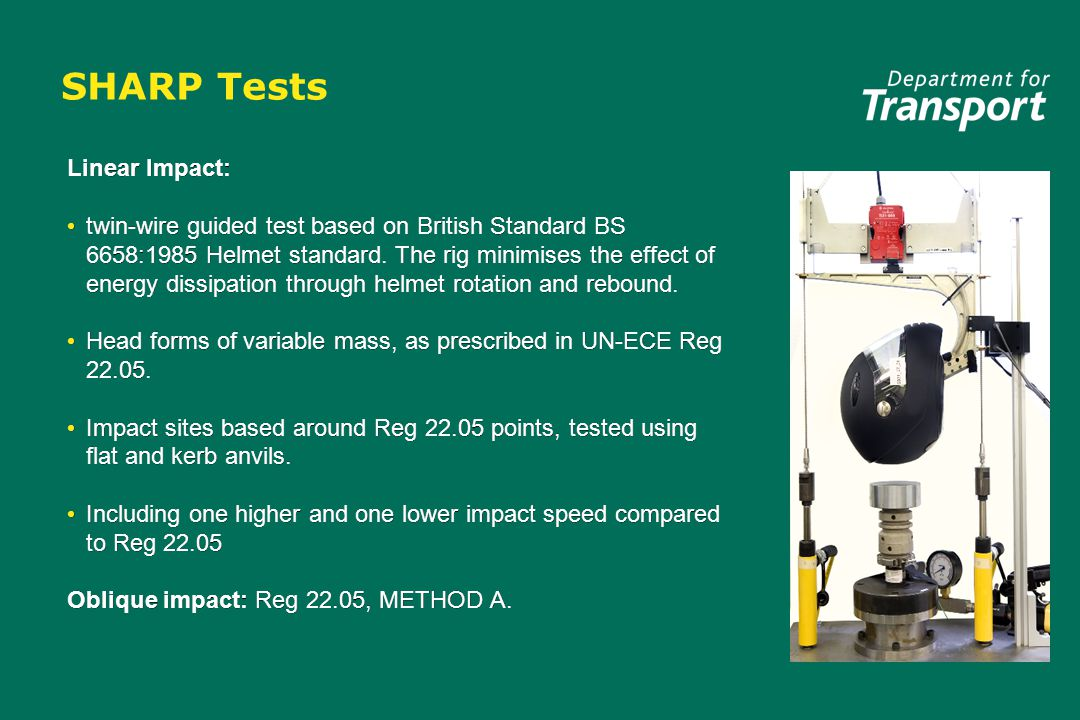 SHARP Tests Linear Impact: twin-wire guided test based on British Standard BS 6658:1985 Helmet standard. The rig minimises the effect of energy dissip