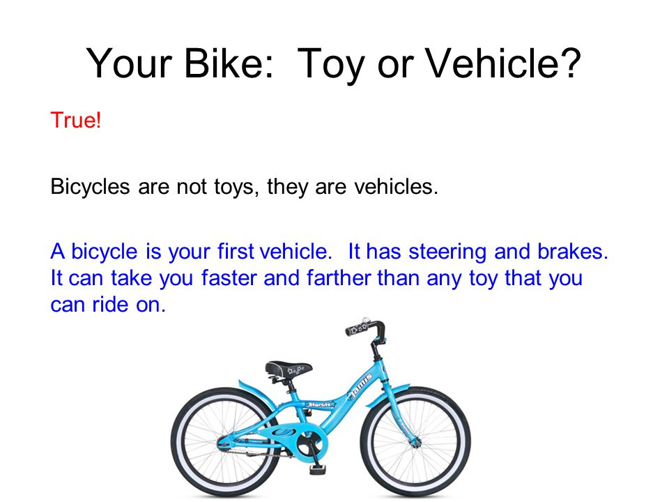 Your Bike: Toy or Vehicle. True. Bicycles are not toys, they are vehicles.