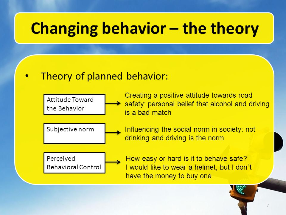 7 Changing behavior – the theory Theory of planned behavior: Attitude Toward the Behavior Subjective norm Perceived Behavioral Control Creating a positive attitude towards road safety: personal belief that alcohol and driving is a bad match Influencing the social norm in society: not drinking and driving is the norm How easy or hard is it to behave safe.