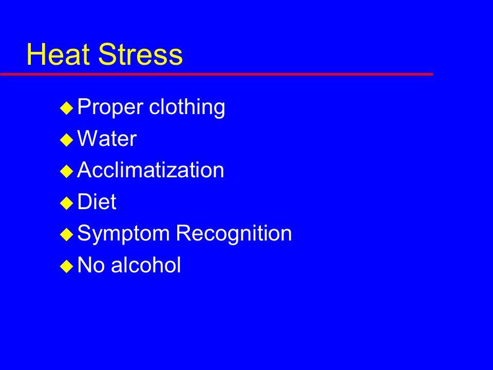 Heat Stress  Proper clothing  Water  Acclimatization  Diet  Symptom Recognition  No alcohol