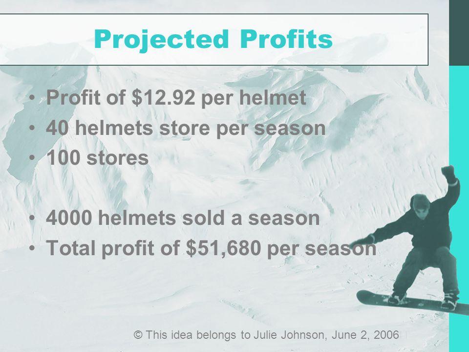 Projected Profits Profit of $12.92 per helmet 40 helmets store per season 100 stores 4000 helmets sold a season Total profit of $51,680 per season © This idea belongs to Julie Johnson, June 2, 2006