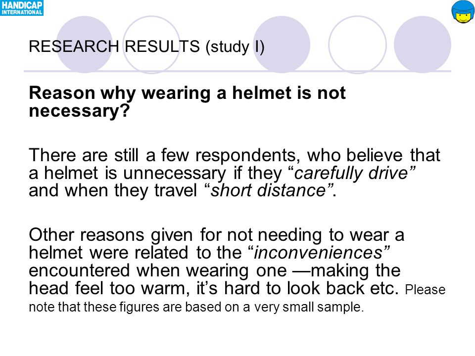 Reason why wearing a helmet is not necessary.